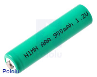 Rechargeable NiMH AAA Battery: 1.2 V, 900 mAh, 1 cell