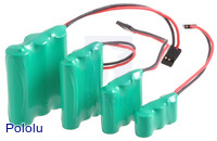 3-cell (3.6 V) NiMH battery packs: AA, AAA, 2/3-AAA, and 1/3-AAA.