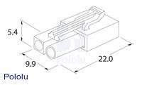 Female mini Tamiya plug dimensions (in mm).