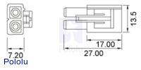 Female Tamiya plug dimensions (in mm).