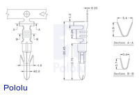 Male Tamiya connector crimp pin dimensions (in mm).