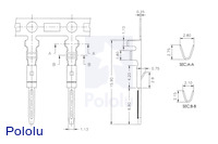 Male JST connector crimp pin dimensions (in mm).
