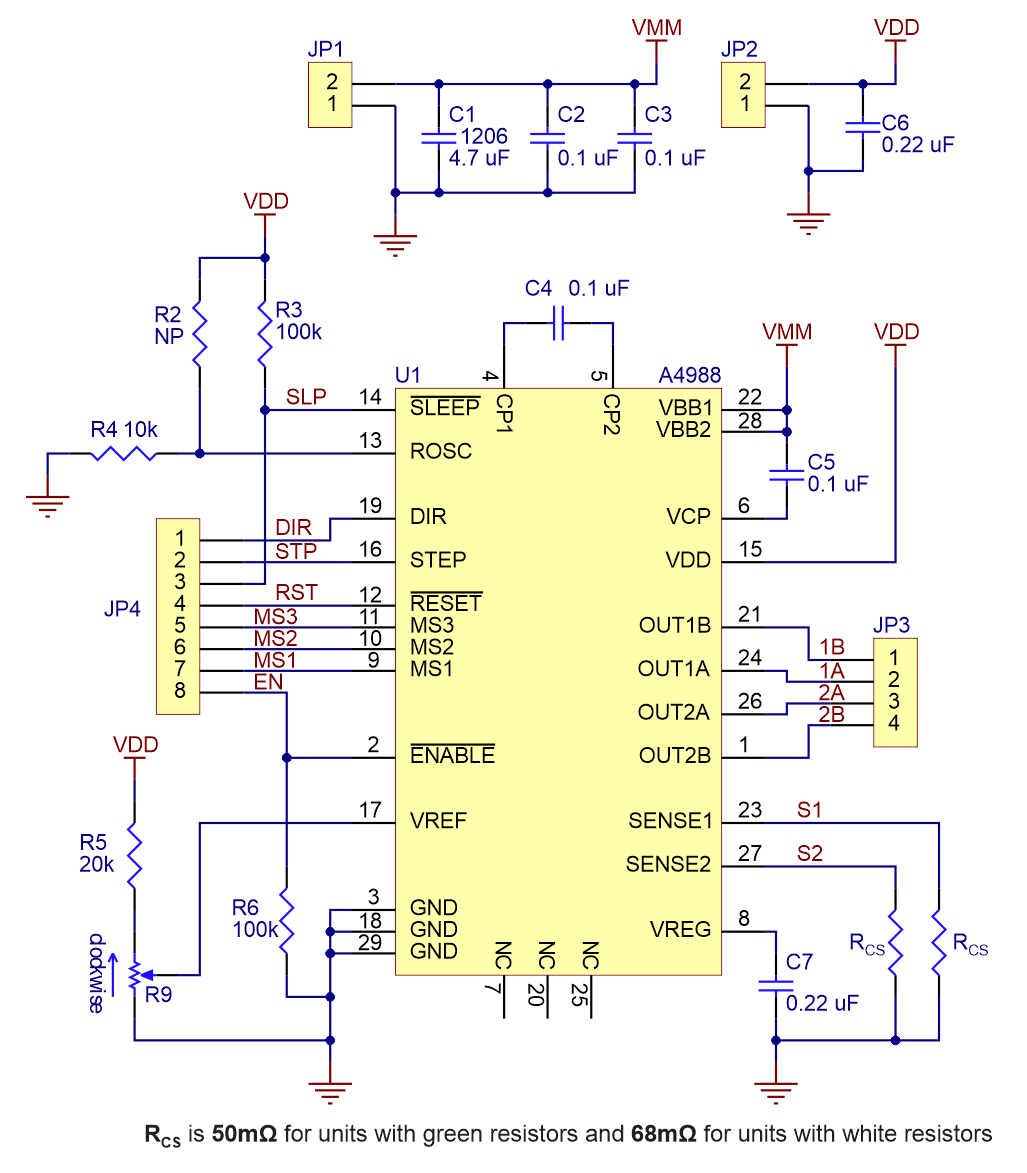 Pololu - Schematic diagram of the A4988 stepper motor driver carrier ...