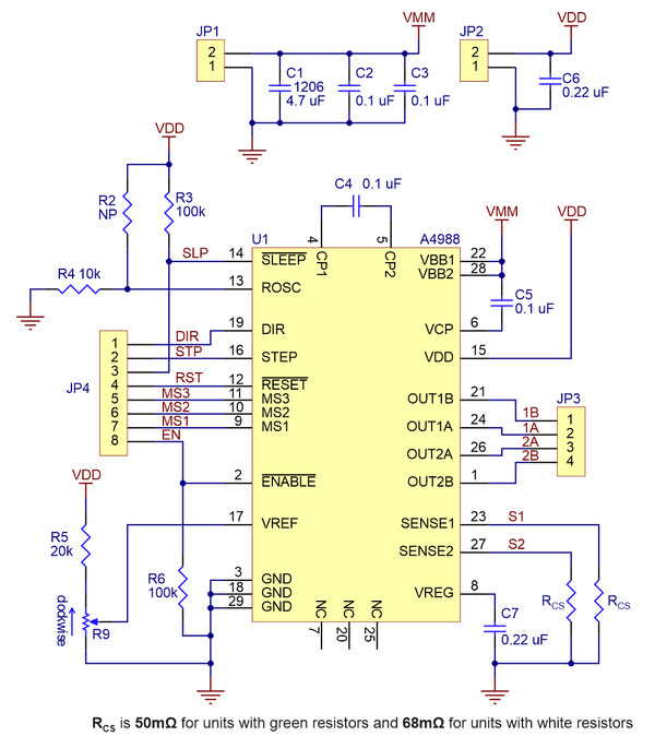 pololu a4988 stepper motor driver carrier schematic diagram of the a4988 stepper motor driver carrier both green and black editions