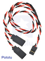 "Twisted Servo Y Splitter Cable 12"" Female - 2x Male"
