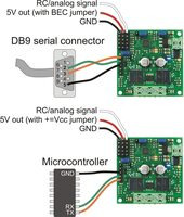 TReX Jr RC/serial input signal connections