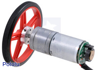 25D mm metal gear motor with 48 CPR encoder and Pololu 60×8mm wheel.