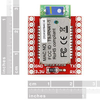 RN-41 Bluetooth module carrier, top view with rulers.