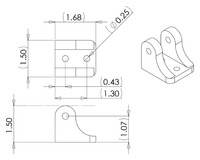 Concentric LD linear actuator bracket dimensions (in inches).