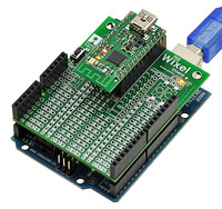 Wixel shield for Arduino with the Arduino's USB port connected.