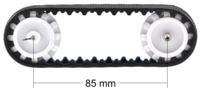 Sprocket spacing diagram for the Pololu 30T track set.
