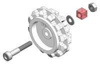 Exploded view diagram showing an idler sprocket and its mounting hardware.