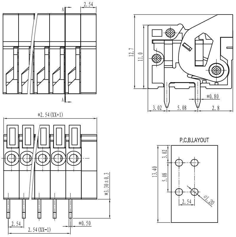 Screwless Terminal Block: 2-Pin, 0 1″ Pitch, Side Entry (3-Pack)
