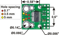ACS709 current sensor carrier mounting holes and current inputs.