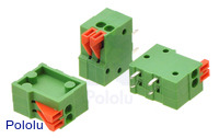 Screwless Terminal Block: 2-Pin, 0.1″ Pitch, Side Entry (3-Pack)