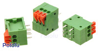 Screwless terminal blocks: 3-pin, 0.1″ pitch, side entry.