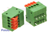 Screwless terminal blocks: 4-pin, 0.1″ pitch, side entry.