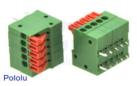 Screwless terminal blocks: 5-pin, 0.1″ pitch, side entry.
