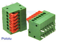 Screwless terminal blocks: 6-pin, 0.1″ pitch, side entry.