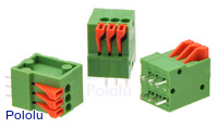 Screwless Terminal Block: 3-Pin, 0.1″ Pitch, Top Entry (3-Pack)