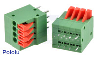 Screwless Terminal Block: 4-Pin, 0.1″ Pitch, Top Entry (2-Pack)