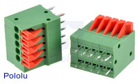 Screwless Terminal Block: 5-Pin, 0.1″ Pitch, Top Entry (2-Pack)