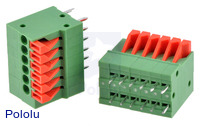 Screwless terminal blocks: 6-pin, 0.1″ pitch, top entry.