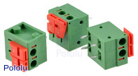 Screwless terminal blocks: 2-pin, 0.2″ pitch, side entry.