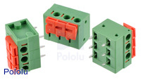 Screwless terminal blocks: 3-pin, 0.2″ pitch, side entry.