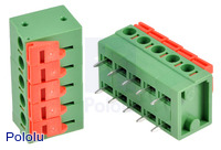 "Screwless Terminal Block: 5-Pin, 0.2"" Pitch, Side Entry (2-Pack)"