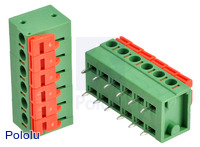 Screwless Terminal Block: 6-Pin, 0.2″ Pitch, Side Entry (2-Pack)