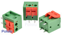 Screwless terminal blocks: 2-pin, 0.2″ pitch, top entry.