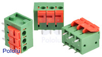 Screwless terminal blocks: 3-pin, 0.2″ pitch, top entry.