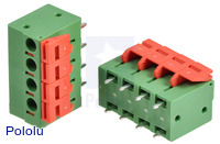 Screwless Terminal Block: 4-Pin, 0.2″ Pitch, Top Entry (2-Pack)