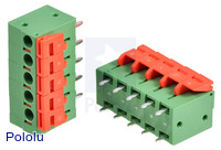 Screwless terminal blocks: 5-pin, 0.2″ pitch, top entry.