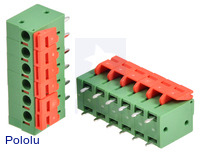 Screwless terminal blocks: 6-pin, 0.2″ pitch, top entry.