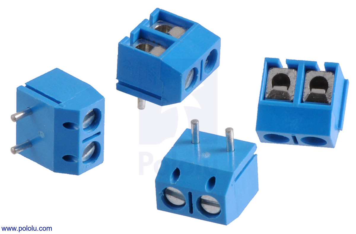 Pololu - Screw Terminal Block: 2-Pin, 5 mm Pitch, Top Entry (4-Pack)