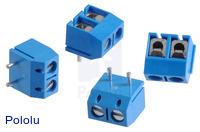 Screw Terminal Block: 2-Pin, 5 mm Pitch, Top Entry (4-Pack)
