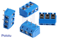 Screw Terminal Block: 3-Pin, 5 mm Pitch, Top Entry (4-Pack)