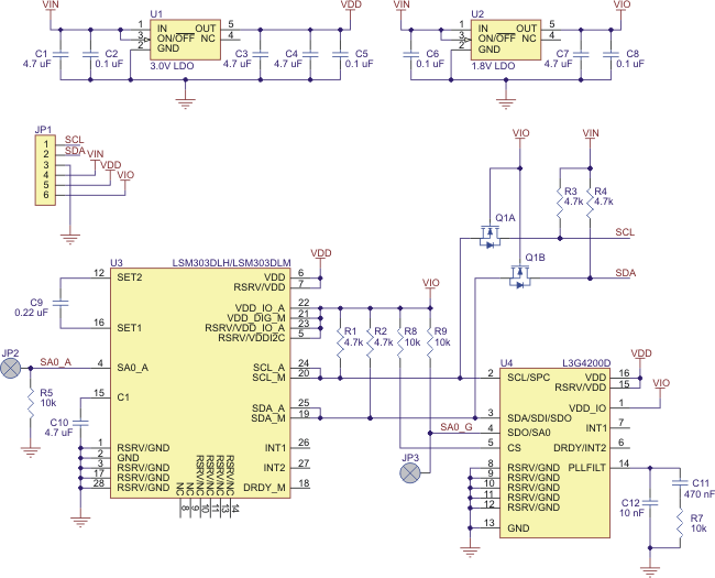 pololu minimu 9 gyro accelerometer and compass l3g4200d and schematic diagram