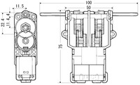 Tamiya 70097 and 89915 twin-motor gearbox dimensions (in mm).