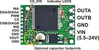 VNH5019 motor driver carrier, labeled top view.