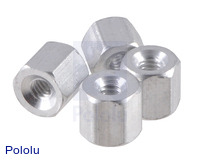 "Aluminum Standoff: 3/16"" Length, 2-56 Thread, F-F (4-Pack)"