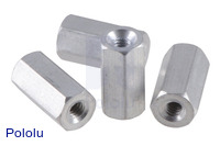 "Aluminum Standoff: 3/8"" Length, 2-56 Thread, F-F (4-Pack)"