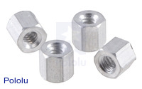 "Aluminum Standoff: 3/16"" Length, 4-40 Thread, F-F (4-Pack)"