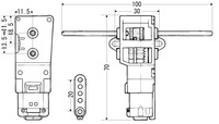 Dimension drawing for Tamiya 70093 3-speed crank axle gearbox.