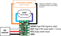 Wiring diagram for RC switch with small low-side MOSFET.
