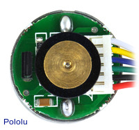 25D mm metal gearmotor with 48 CPR encoder: close-up view of encoder.