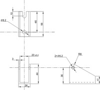 Generic linear actuator bracket dimensions (in mm).