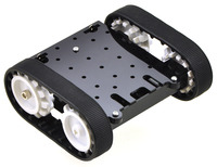 Pololu Zumo chassis kit, assembled top view, shown with motors.